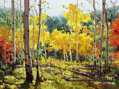 Fall Panorama Painting - Backlit Aspen Grove  by Gary Kim
