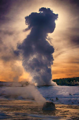 Backlit Old Faithful Print by Priscilla Burgers