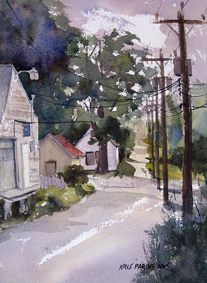 Telephone Poles Painting - Backstreet by Kris Parins