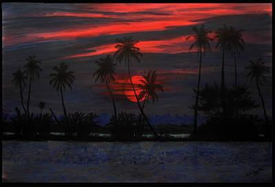 Sea Birds Painting - Backwater Sunset by Adhijit Bhakta