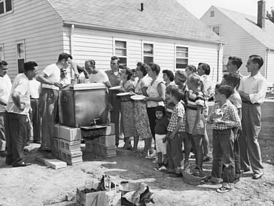 Gathering Photograph - Backyard Clambake by Underwood Archives