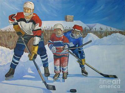 Ice Hockey Painting - Backyard Ice Hockey by Christina Clare