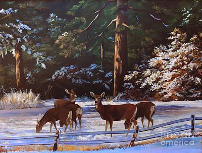 Winter Scenes Painting - Backyard Visitors by Suzanne Schaefer