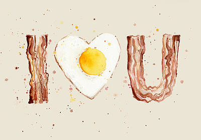 Food And Beverage Mixed Media - Bacon And Egg I Heart You Watercolor by Olga Shvartsur