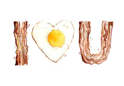 Heart Illustration Painting - Bacon And Egg Love by Olga Shvartsur