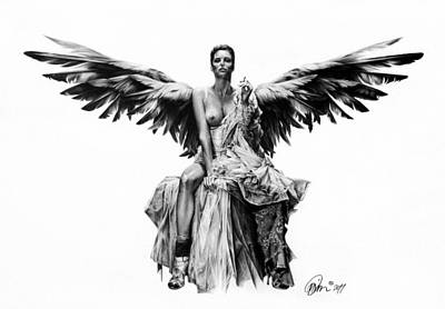Bad Angel Print by Mario Pichler