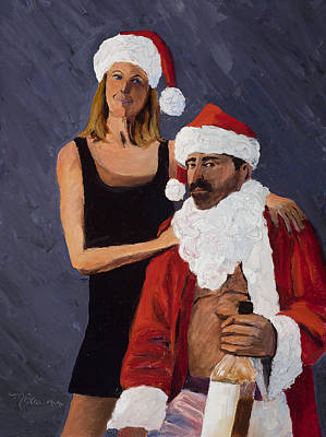 Santa Claus Painting - Bad Santa II by Mary Giacomini