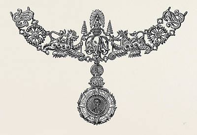 1874 Drawing - Badge And Collar Of A New Order Of Knighthood Instituted by English School
