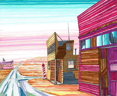 Store Fronts Drawing - Badlands Barbershop by Scott Kirby