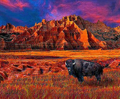 Bison Digital Art - Badlands Bison American Icon by Michele  Avanti