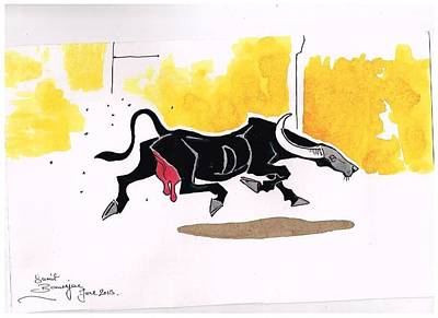 Baffled Buffalo Print by Sumit Banerjee