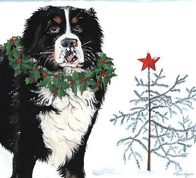 Wreath Painting - Bah Humb Merry Christmas by Liane Weyers