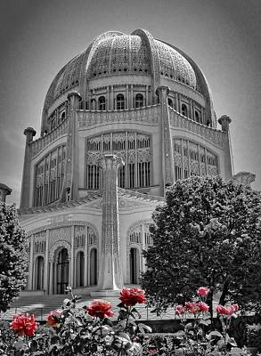 House Of Worship Photograph - Bahai Temple Wilmette In Black And White by Rudy Umans