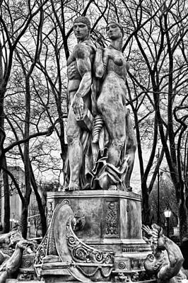 Bailey Fountain In Black And White Print by JC Findley