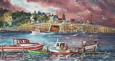 Old Man Fishing Painting - Bailey Island Cribstone Bridge by Joy Nichols