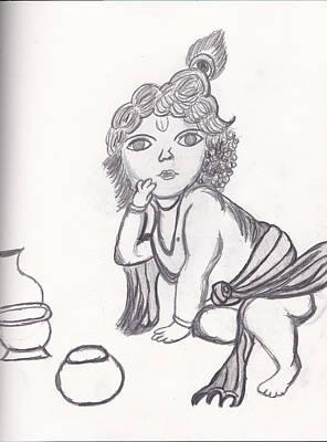 Bal Gopal Sketch Print by Melissa Vijay Bharwani