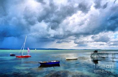 Water Filter Painting - Balaton Lake by Odon Czintos
