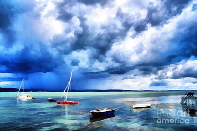 Water Filter Painting - Balaton Lake View by Odon Czintos