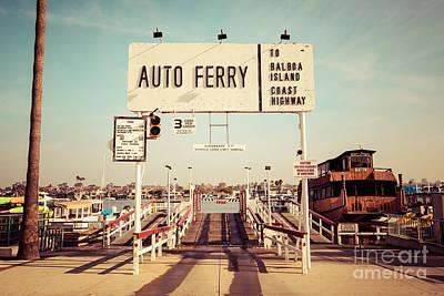 Balboa Island Ferry Newport Beach Vintage Picture Print by Paul Velgos