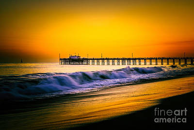 Balboa Pier Picture At Sunset In Orange County California Print by Paul Velgos