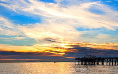 Balboa Pier Sunset Landscape Hdr Print by Chris Brannen