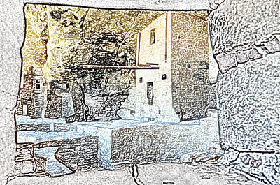 Balcony House Window View At Mesa Verde National Park Anasazi Ruins Colored Pencil Print by Shawn O'Brien