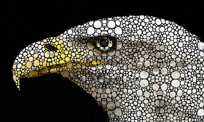 Pebbles Digital Art - Bald Eagle Art - Eagle Eye - Stone Rock'd Art by Sharon Cummings