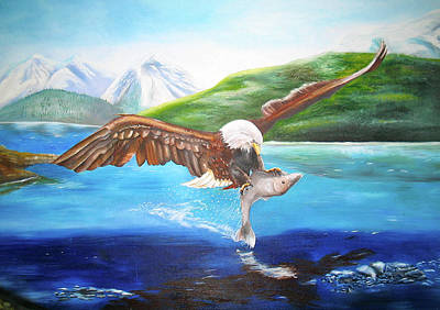 Painting - Bald Eagle Having Dinner by Thomas J Herring
