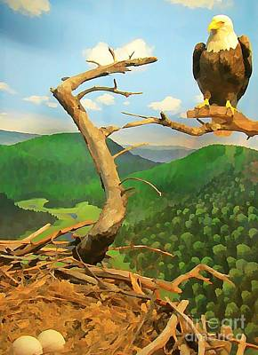 American Eagle Painting - Bald Eagle Protecting Eggs by John Malone