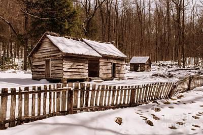 Bales Cabin In Winter Print by Debbie Green