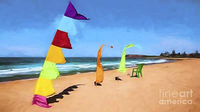 Abstract Digital Art Photograph - Bali Flags On Collaroy Beach by Avalon Fine Art Photography