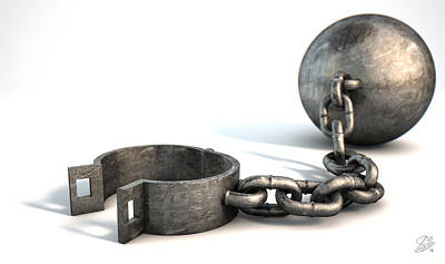 Restrained Digital Art - Ball And Chain Isolated by Allan Swart