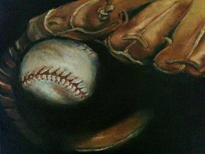 Baseball Painting - Ball In Glove by Lindsay Frost