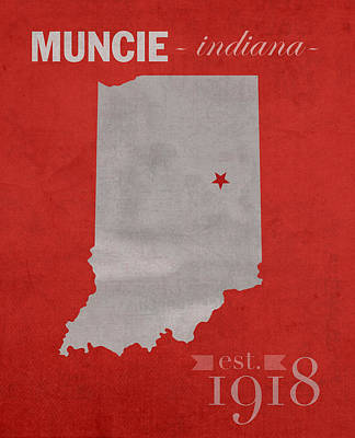 Cardinal Mixed Media - Ball State University Cardinals Muncie Indiana College Town State Map Poster Series No 017 by Design Turnpike