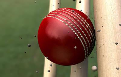 Cricket Digital Art - Ball Striking Wickets by Allan Swart