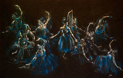 Dancers Drawing - Ballerina Ghosts by Jani Freimann