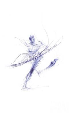 Ballerina In Cobalt Blue Print by Lousine Hogtanian