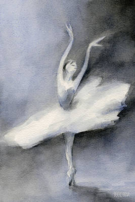 Ballerina In White Tutu Watercolor Painting Print by Beverly Brown Prints