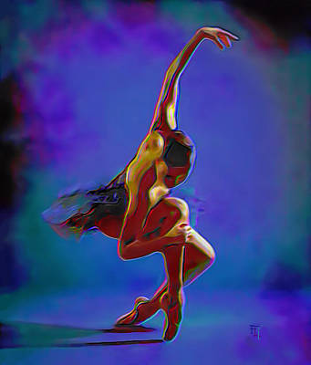 Ballerina On Point Original by  Fli Art