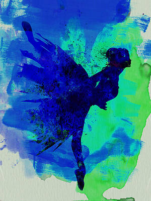 Ballerina On Stage Watercolor 2 Print by Naxart Studio