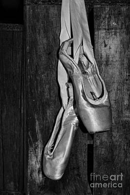 Dance Studio Photograph - Ballet Slippers In Black And White by Paul Ward
