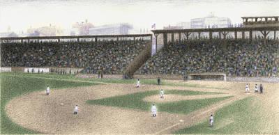 Baseball Parks Drawing - Ballgame by Steve Dininno