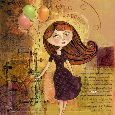 Balloon Girl Print by Karyn Lewis Bonfiglio