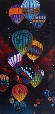 Balloon Fiesta Painting - Balloon Glow by Judy Lybrand