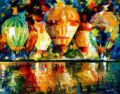Balloon Show - Palette Knife Oil Painting On Canvas By Leonid Afremov Original by Leonid Afremov