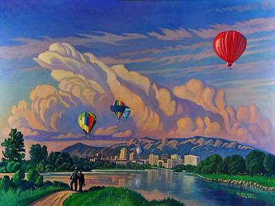 Balloon Fiesta Painting - Ballooning On The Rio Grande by Art James West