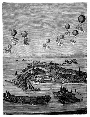 Balloons Bombing Venice Print by Science Photo Library