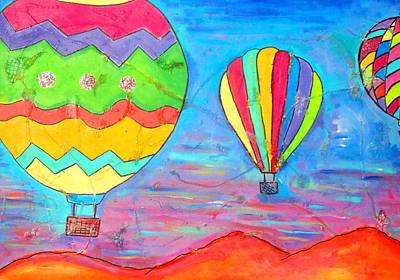 Balloon Fiesta Painting - Balloons Over New Mexico 1 by Karen Kaster