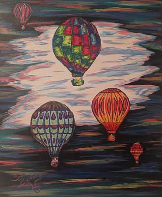 Balloon Fiesta Painting - Balloony Skies by Lynne Sanchez