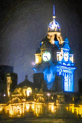 Balmoral Clock Tower On Princes Street In Edinburgh Print by Mark E Tisdale